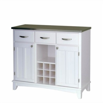 Home Styles Furniture Large White Base & Stainless Steel Top Buffet Kitchen