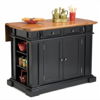 Home Styles Kitchen Island with Breakfast Bar in Black | eBay