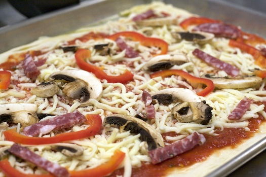Peppers, Mushrooms, and Salami Pizza