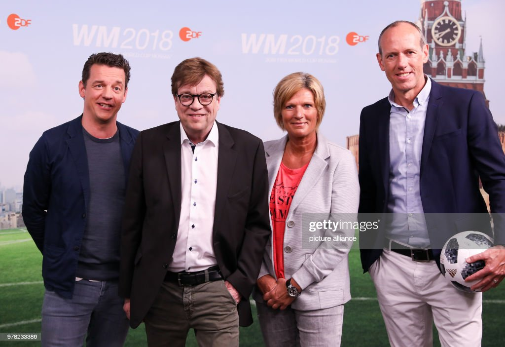 German TV channels ARD and ZDF on Soccer World Cup in Russia     Oliver Schmidt  L R   Bela Rethy  Claudia Neumann and Martin Schneider  ZDF