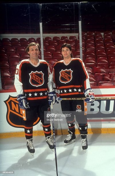 Guy Lafleur and Joe Sakic both of the Wales Conference and the Quebec... News Photo | Getty Images