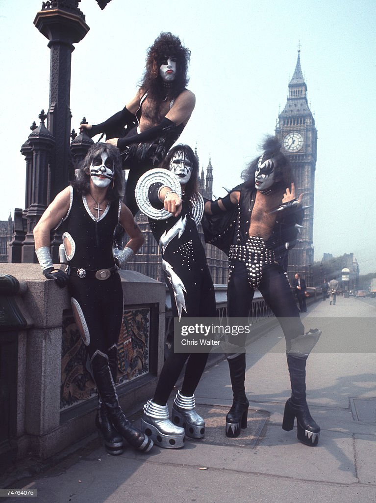 Kiss Band Pictures and Photos   Getty Images Peter Criss Paul Stanley Ace Frehley and Gene Simmons of KISS in London  1976 at the