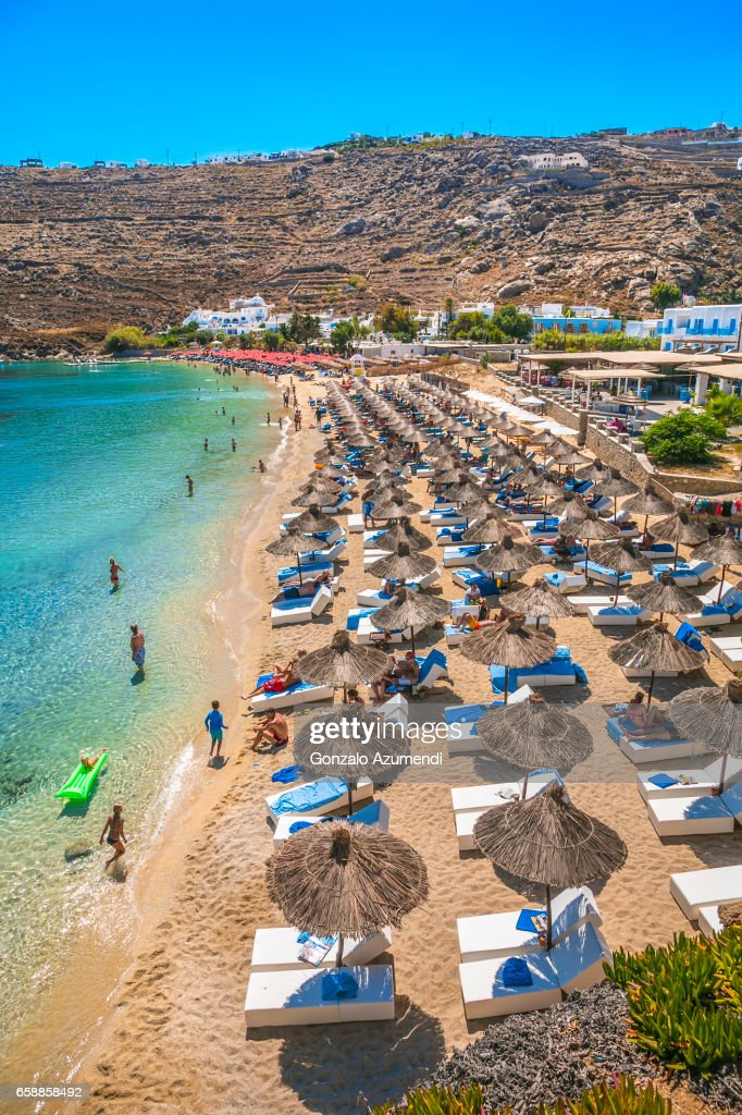 Psarou Beach At Mykonos Island Stock Photo   Getty Images Psarou Beach at Mykonos Island    Stock Photo