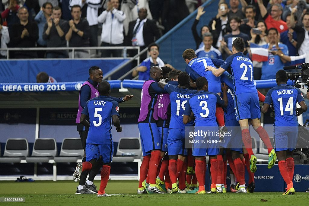 France National Soccer Team Stock Photos and Pictures   Getty Images The French national team celebrates following the first goal of the match  during the Euro 2016