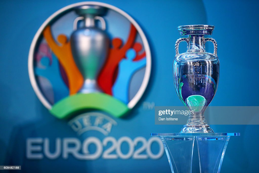 UEFA EURO 2020 Launch Event Photos and Images   Getty Images The UEFA European Championship trophy is displayed next to the logo for the  UEFA EURO 2020