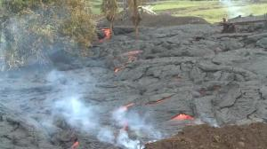 Raw video: New images of slow-moving lava flow in Hawaii