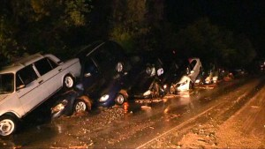 Mudslide in Crimea damages town, leads to multiple car pile-up