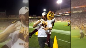 'Exuberant' college mascot sends Arizona councilman to hospital