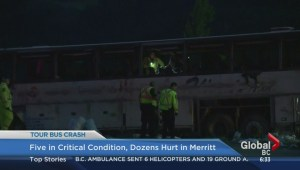 Five in critical condition after tour bus crashes on Coquihalla