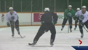 "Saskatchewan Huskies men's hockey supporting ""Marty's Men"""
