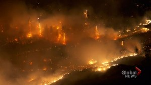 Night time footage of wildfires spreading near Oliver, BC