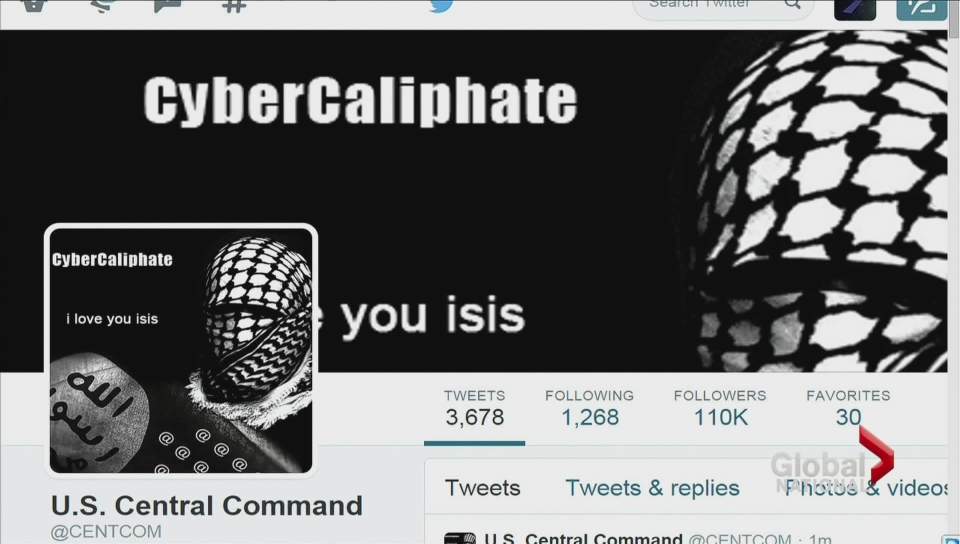 U.S. military command's online accounts hacked, show pro-ISIS messages