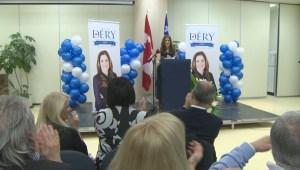 Raw video: Pascale Déry seeks Conservative nomination