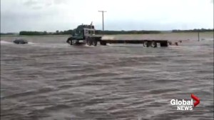 Raw video:  Highway 1 under water after extensive flooding