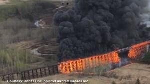 Incredible aerial video of Alberta trestle bridge fire