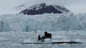 Italian concert pianist plays atop melting 'iceberg' in the Arctic Ocean