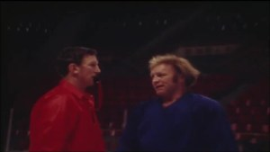 Classic Winnipeg Jets practice footage, Bobby Hull gets a pie in the face