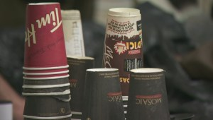 Binners recycle coffee cups in Downtown Vancouver