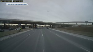 Video shows cyclist crossing in front of traffic on Toronto highway