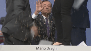 Protester dumps confetti on head of European Central Bank
