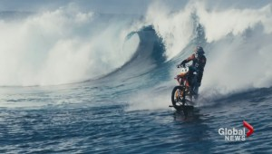 Viral video: Motorcycle surfing Tahiti wave has BC connection