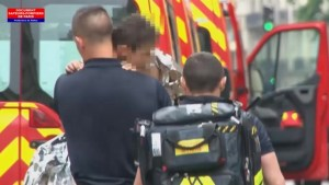 Emergency workers help Paris lightning victims