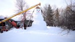 Family in Rosenort, Manitoba builds massive 20-foot tall snowman