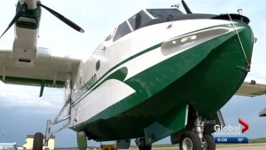 Saskatchewan unveils its newest wildfire fighting air tanker