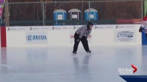 Ref hits the ice at World's Longest Hockey Game as he undergoes chemo