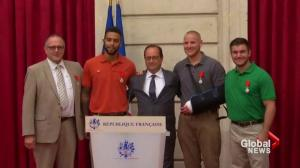 France gives highest honour to men who stopped train attack