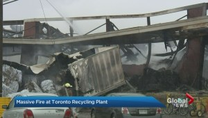 Toronto fire crews continue to battle 6-alarm fire at recycling plant