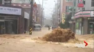 Raw video compilation: Typhoon Chaba wreaks havoc on Korean Peninsula