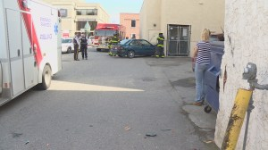 Senior disoriented after crashing into building