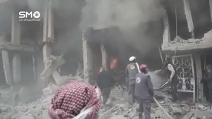 Syrians rescued from rubble following Douma air strikes caught on camera