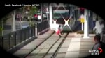 Caught on camera: Scary close call as boy darts in front of train in Houston