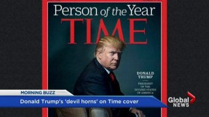 Does Donald Trump have 'devil horns' on the cover of 'Time'?