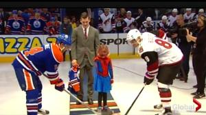 SpiderMable drops puck at Tuesday's Edmonton Oilers game
