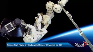 GTA Paediatric cancer patients see the colourful spacesuit they helped to create, LIVE on International Space Station.
