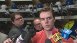 Connor McDavid speaks to media after 3 point season opener