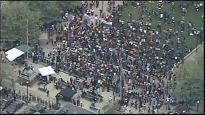 Aerial footage of protesters gathering for Freddie Gray demonstration