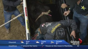 Professional bull riders in Winnipeg at the MTS Centre