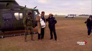 The Grey Cup arrives in Toronto via military helicopter