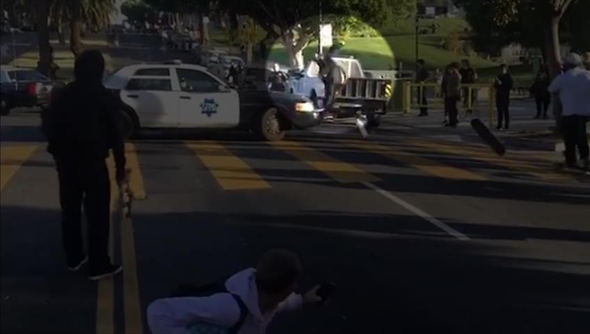 Skateboarders Scuffle With Police in San Francisco
