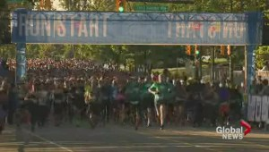 Thousands of runners participate in the BMO Vancouver marathon