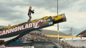One of world's only female human cannonball's makes a splash at Stampede