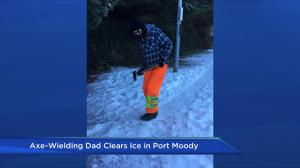 B.C. man protects the public from icy sidewalks with axe