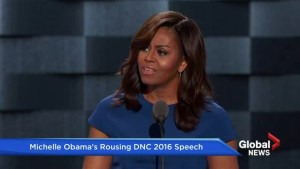 How well did Michelle Obama do at the DNC?