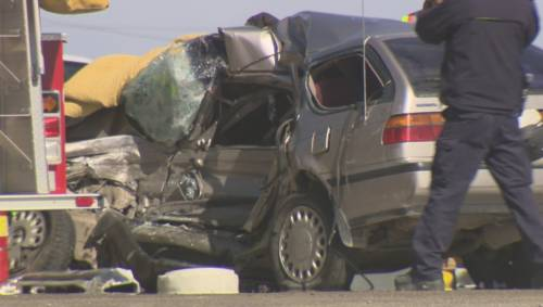 Emergency crews on scene at a fatal car crash Monday ...
