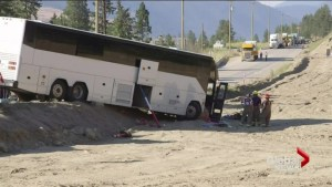 Man dies after hitting a tour bus head-on on B.C. highway
