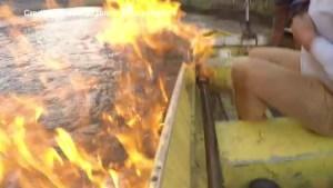 Australian MP lights river near gas fracking site on fire